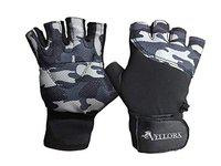 VELLORA PU, Lycra Camo Weight Lifting Gym Workout Gloves Half Finger with for Fitness for Men & Women (Grey) (Free Size)