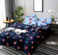 HSR Collection Printed 120 GSM Glace Cotton Double Bedsheet with 2 Pillow Covers - Blue