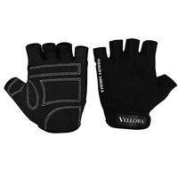 VELLORA Supermax Pu Leather Fitness Gym Glove for Weight Lifting Gloves with Wrist Support for Gym Exercise Fitness for Men & Women - Size: L,1 Pair (Black)