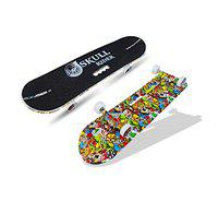 jaspo Skull Rider Fiber Skateboard - 30 x 8 inches Suitable for Age Group 8 Years & Above (Multicolor)