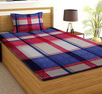 BSB HOME Glace Cotton 160 TC Kids Printed Single Bed Sheet with 1 King Size Pillow Covers (4X6 feet Bed, Blue Red Spyderman)