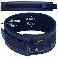Xtrim Dura Belt-4 Wide-10MM Thick-Unisex-Gym Fitness Weightlifting Belt-Foam Padded-Moisture Wicking Lining-Self Locking Buckle-Washable-Stabilizing Back Support for Heavy Lifting (Navy, M)