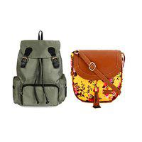 Lychee Bags Women Taffeta Backpack and Sling Bag Combo Pack of 2 Green and Yellow