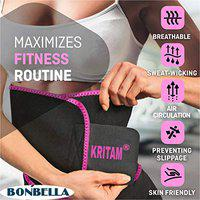 KRITAM Sweat Slim Belt for Tummy Trimming Exercise for Both Men and Women Pink
