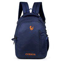 Conava Polyester School Bag Waterproof Casual Unisex Backpack with Laptop Compartment (DarkBlue-Orange)