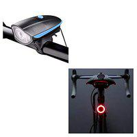 Lista Head Light and Tail Light Combo, Rechargeable Bike Horn and Light 140 DB with Super Bright 250 Lumen Light 3 Modes & 6 Modes Round Shape Red and Yellow Lights COB LED Tail Light