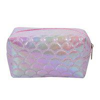 STRIPES Fish Fin Design Holographic Cosmetic Bag Women (Pink)
