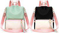 New Trend Both Of BackPack And Sling Bag Double Handle StrapPu Leather Used Backpack School Bag Student Backpack Women Travel bag Tution Bag office Bag Collage Backpack (PINKGREN PINKBLK)