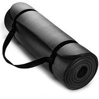 SIGNATRON 13mm Extra Thick Exercise and Yoga Mat Anti Skid with Carrying Strap for Gym Workout and Flooring Exercise (Black, 13mm)
