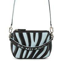 Da Milano Genuine Leather Black & Blue Sling Bag