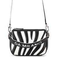 Da Milano Genuine Leather Black & White Sling Bag
