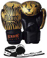 Aurion Molded Faux Leather Boxing Gloves for Muay Thai Kickboxing MMA Martial Arts Workout Grappling Dummy Punching Boxing Gloves with Hand wrap 176 (Golden / Black + Boxing Hand WRAP 176, 14 oz)
