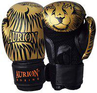 Aurion Molded Faux Leather Boxing Gloves for Muay Thai Kickboxing MMA Martial Arts Workout Grappling Dummy &Double End Ball Punching Boxing Gloves with Hand wrap 176 Inches (Golden / Black, 16 oz)