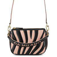 Da Milano Genuine Leather Black & Pink Sling Bag for Women