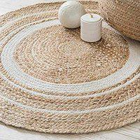 Maddy Home Handwoven Jute Natural Fibres Braided Reversible Carpet for Bedroom Living Room Dining Room (Jute, 70 cm)