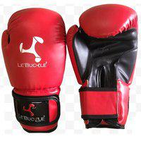 Le Buckle PU Leather Boxing MMA Contest Gloves Red 10 Ounces (290 Grams)
