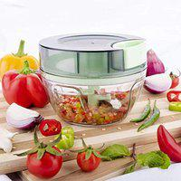 Primelife Handy and Compact Chopper Pro Mini with 3 Blades Handy Onion Chopper Vegetable - Multicolor (450 ml - PRO Mini Chopper)