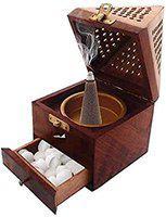 Royal Handicrafts Wooden Incense Sticks Holder Wooden Pyramid Incense Box Fragrance Stand Holder Agarbati Dhoop for Pooja