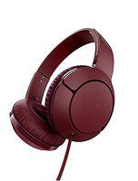 (Renewed) TCL Mtro200 On-Ear Wired Headphones Super Light Weight Headphones with 32mm Drivers for Huge Bass and Built-in Mic Burgundy Crush