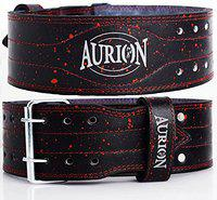 Aurion Genuine Leather 11 MM Thick Weight Lifting Belt for Professional Weightlifting Durable and Adjustable with Buckle Stabilizing Lower Back Support for (11MM Thickness, Medium)