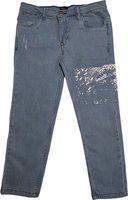 KiddoPanti Boy's Fashion Denim Pant with Thigh Abstract Print, Lt Wash, 10-12Y