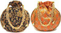 Craftbuddy Pack Of 2 Embroidered Party Wear Potli Purse Potli(Pack of 2)