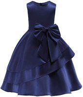 Alisha Moda Baby-Girl's Kid's Birthday Princess Ball Midi Length Dress (Navy_10-11y)
