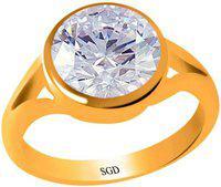 SUDIP G DESIGN Zircon 3 carat or 3.25ratti Panchdhatu Silver Cubic Zirconia Gold Plated Ring