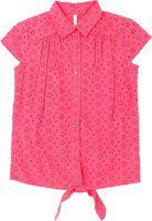 Pantaloons Junior Girls Casual Cotton Blend Peplum Top(Pink, Pack of 1)