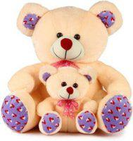 HappyHeart Super Soft Quality Cream Mother with Baby Teddy Bear - 42 cm (Cream) - 42 cm(Beige)