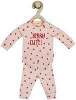 GINI & JONY Kids Nightwear Girls Printed Cotton Blend(Pink Pack of 1)