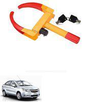 AutoSun ATZ-1495-253 Yellow Anti Theft Car Wheel Tyre Lock Clamp For Chevrolet Sail U-VA Wheel Lock