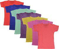 IndiWeaves Boys Solid Polycotton T Shirt(Multicolor, Pack of 7)