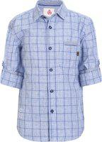 UFO Boys Checkered Casual Blue Shirt