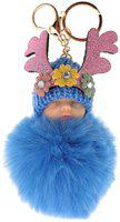 DORRON Stylish Sleeping Baby Fluffy Faux Fur Pom Pom Keychain & Keyring for Girls Key Chain