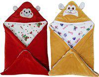 Brandonn Printed Single Hooded Baby Blanket(Poly Cotton, Red , Beige)