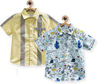 Tonyboy Baby Boys Printed Casual Multicolor Shirt(Pack of 2)