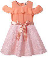 Cub McPaws Girls Midi/Knee Length Party Dress(Orange, Short Sleeve)