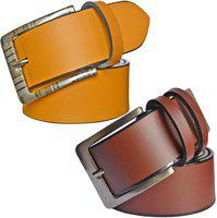 Sunshopping Men's Brown And Tan Synthetic Leather Belt