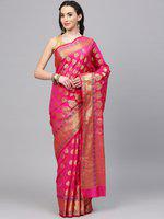 Chhabra 555 Women Magenta & Golden Woven Design Banarasi Saree