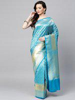 Chhabra 555 Blue & Golden Woven Design Handloom Banarasi Saree