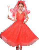 Adiva Indi Girls Maxi/Full Length Festive/Wedding Dress(Red, Sleeveless)