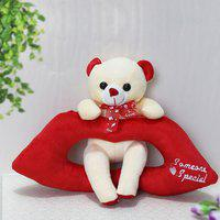 giftalove Cute Lip Bear - 21cm - 21 cm(White & Red)