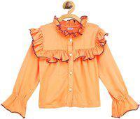 Shreem Kids Girls Solid Party Orange Shirt