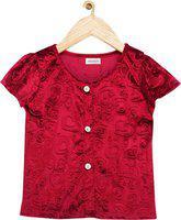 Shreem Kids Girls Self Design Party Maroon Shirt