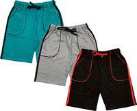 Indistar Short For Boys Casual Solid Polycotton(Multicolor, Pack of 3)