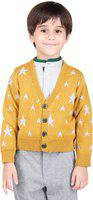 One Friday Printed V-neck Casual Boys Yellow Sweater