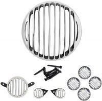 Gadget Deals Headlight, Tail Light, Parking Light, Indicator Grill Chrome Finish Metal Bike Headlight Grill(Black, Silver)