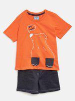 Nauti Nati Boys Orange & Navy Embroidered T-shirt with Shorts