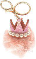 DORRON Crown Pom Pom Faux Fur Key Chain Ring for Girls Bags and Keys (Pink) Key Chain